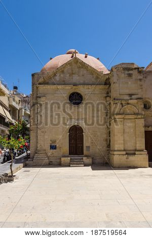 HERAKLION GREECE - JULY 09 2016: Crete. Ecclesiastical Museum Agia Ekaterini (St. Catherine) as part of a complex of buildings of Agios Minas Cathedral - Greek Orthodox Church. The residence of Archbishop of Crete.