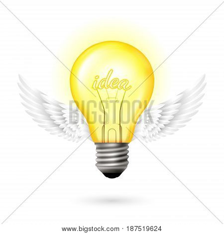 Light bulb with idea text and white wings. Inspiration conceptual vector illustration in realism style