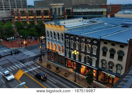 LEXINGTON, KENTUCKY - MAY 12, 2017:  The Square in Lexington Kentucky is a premiere attraction in the heart of the city.
