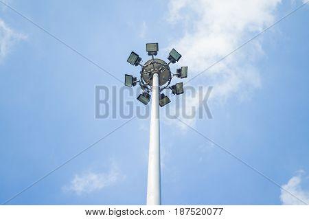 outdoor spot light on blue sky background