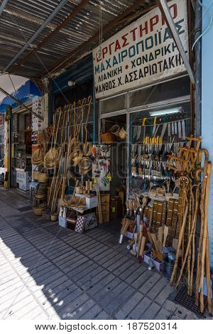 HERAKLION GREECE - JULY 09 2016: Crete. The narrow shopping streets in the old part of the city. Shop for the sale of handmade goods. Heraklion - the largest city on the island.