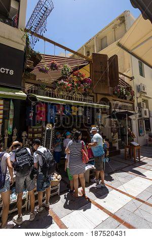 HERAKLION GREECE - JULY 09 2016: Crete. The popular shopping street - Daidalou Street in the historic center of the city. Heraklion - the largest city on the island.