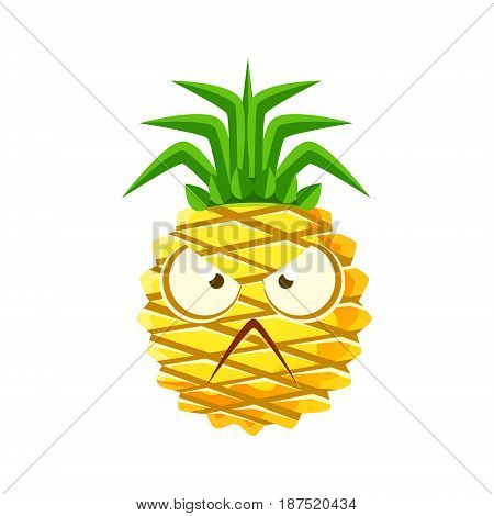 Angry pineapple face. Cute cartoon emoji character vector Illustration isolated on a white background