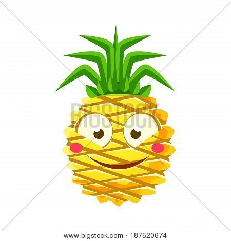 Shy funny pineapple emoticon. Cute cartoon emoji character vector Illustration isolated on a white background