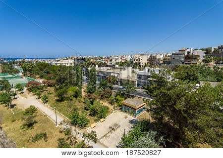 HERAKLION GREECE - JULY 09 2016: Crete. A view of the seaport and the city's neighborhoods.