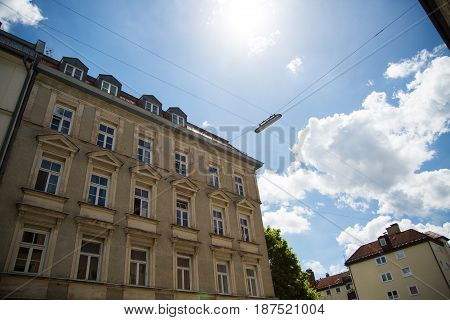 Old building in Munich blue sky, city