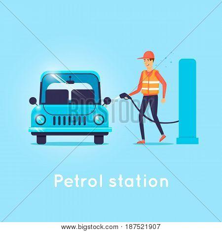 Refueling car. Character. Flat design vector illustration.