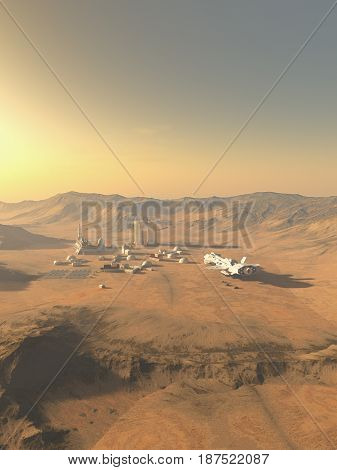 Science fiction illustration of an isolated outpost on an alien desert planet visited by a supply ship, digital illustration (3d rendering) poster