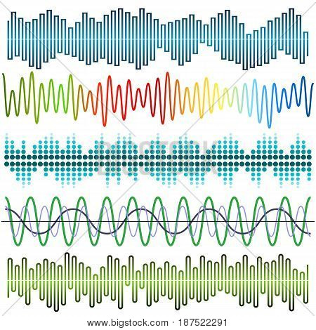 Vector set of sound waves. Audio equalizer. Sound & audio waves isolated on white background.