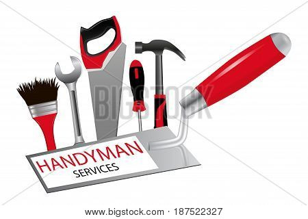 The concept of construction and repairs. The logo for professional handyman services. Trowel saw hammer wrench screwdriver and brush. Vector illustration.