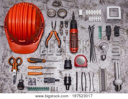 electrician tools on metal background