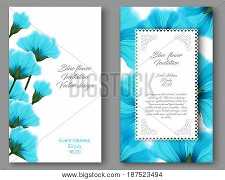 Vector botanical vertical banners with blue flower. Design for natural cosmetics health care products. Can be used as greeting card or wedding invitation. Set floral vintage card