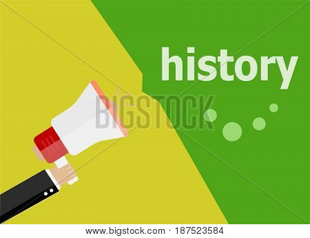 History. Hand Holding A Megaphone. Flat Style
