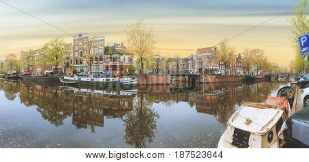 Canals of Amsterdam. Moody panorama of Rossebuurt district