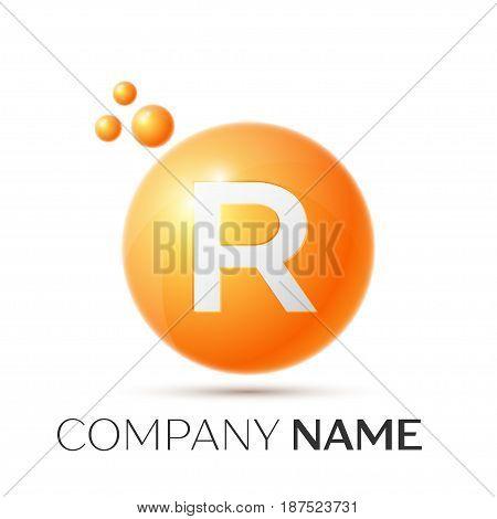 R Letter splash logo. Orange dots and circle bubble letter design on grey background. Vector Illustration