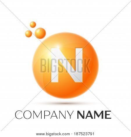 N Letter splash logo. Orange dots and circle bubble letter design on grey background. Vector Illustration
