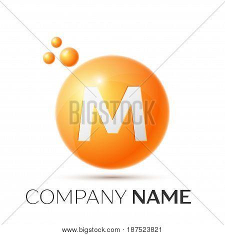 M Letter splash logo. Orange dots and circle bubble letter design on grey background. Vector Illustration