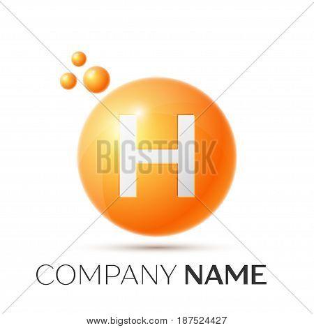 H Letter splash logo. Orange dots and circle bubble letter design on grey background. Vector Illustration