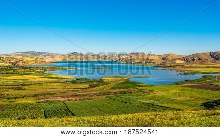 View at the Barrage Sidi Chahed lake in Morocco