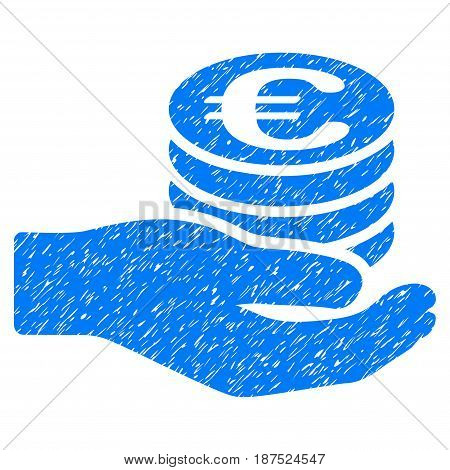 Grunge Euro Salary icon with grunge design and dust texture. Unclean vector blue pictogram for rubber seal stamp imitations and watermarks. Draft sign symbol.