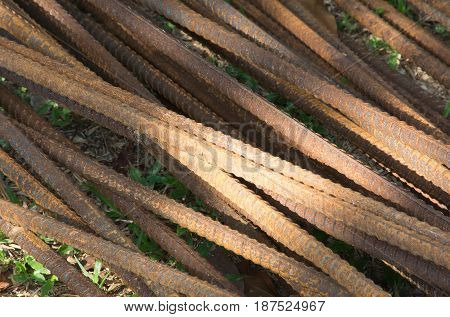 Soft focused picture of Rusty Re-bar steel or deformed bar for constructure building