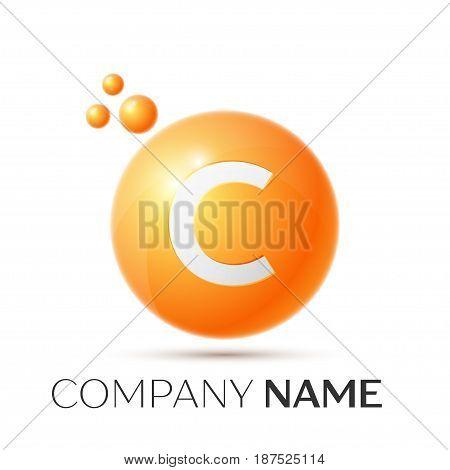 C Letter splash logo. Orange dots and circle bubble letter design on grey background. Vector Illustration