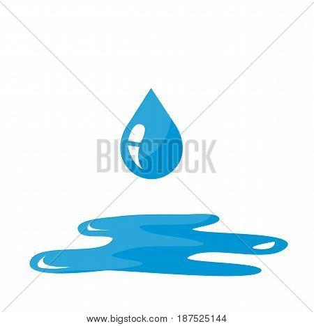 Water drop icon on white backgound design