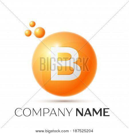 B Letter splash logo. Orange dots and circle bubble letter design on grey background. Vector Illustration