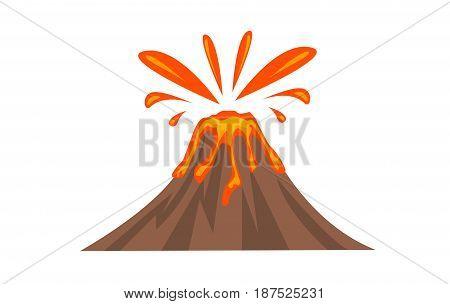 Colored Volcano Icon illsutation on white background