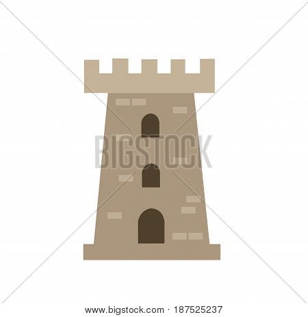 Colored castle tower illustration on white background