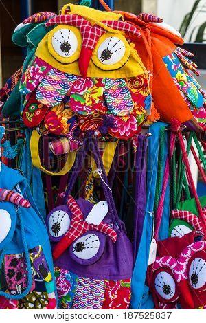 CRETE GREECE - JULY 11 2016: Sale of traditional local souvenirs of a coastal elite tourist town Agios Nikolaos on the Greek island of Crete.