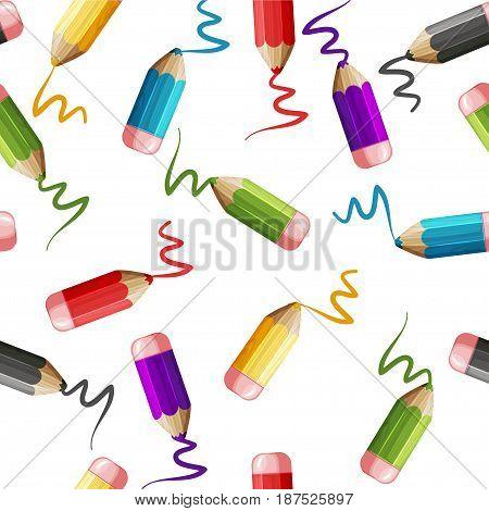 Cartoon Seamless pattern set of colored wood pencils, design vector illustration