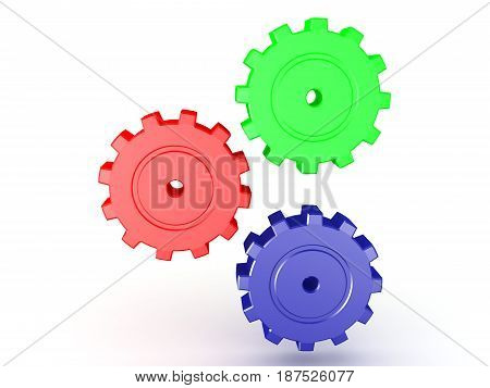 illustration of multi colored cogs turning. The cogs are shiny and metallic.