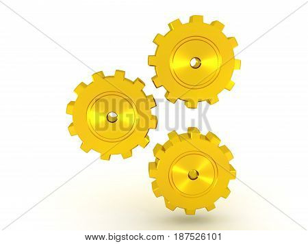 illustration of three golden metallic cogs turning. The cogs are shiny.