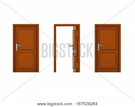 3D illustration of three doors with one being open. Image could convey the idea of an opportunity.
