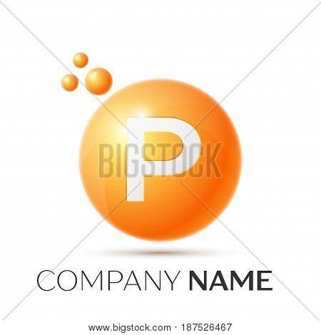 P Letter splash logo. Orange dots and circle bubble letter design on grey background. Vector Illustration