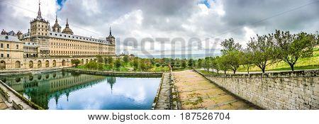 Panoramic View Of Famous Royal Monastery Of San Lorenzo De El Escorial Near Madrid, Spain