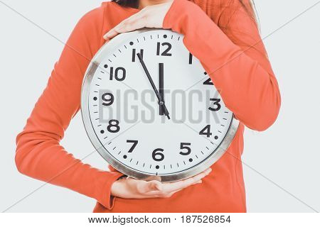 Beautiful woman with the clock.