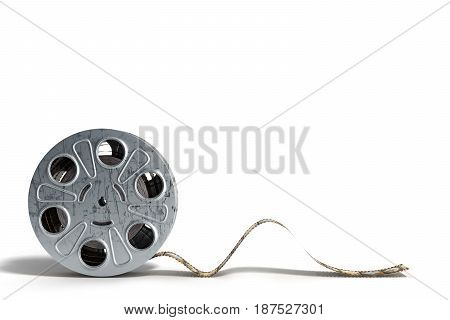 Film Reel With A Film Strip 3D Render On White