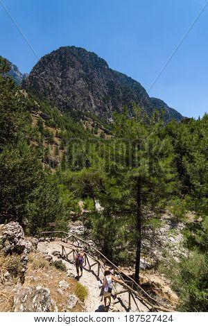 CRETE GREECE - JULY 14 2016: Samaria Gorge - a major tourist attraction of the island.