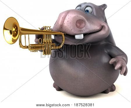 Fun hippo - 3D Illustration