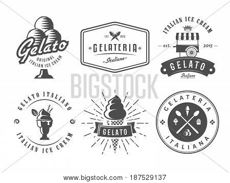 Set of gelato badges. Vector italian ice cream labels. Retro logos for cafeteria or bar.