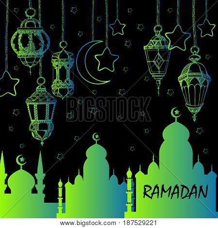 Illustration Ramadan Kareem Background with Lamps Fanoos Crescents and Stars Vector illustration