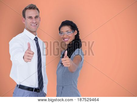 Digital composite of Business people showing thumbs up gesture