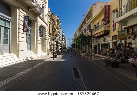 HERAKLION GREECE - JULY 16 2016: Crete. The shopping streets in the old part of the city. Heraklion - the capital and the largest city on the island.