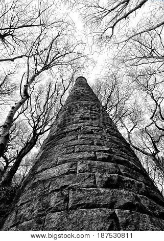 old ruined mill tower in colden valley west yorkshire