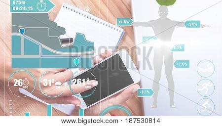 Digital composite of Hands using smart phone with graphics