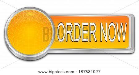 decorative orange Order now dash Button - 3D illustration