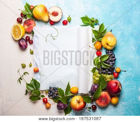 Still life of various fruits and berries . Top view