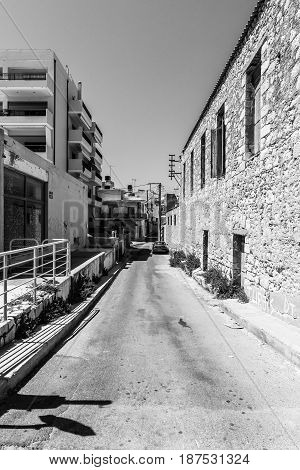 HERAKLION GREECE - JULY 16 2016: Crete. Residential areas outside the tourist destinations. Black and white.